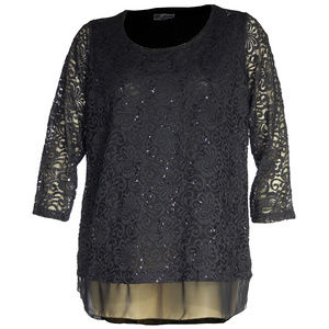 1x Black 3/4 Sleeve Embellished Lace Top Plus Size